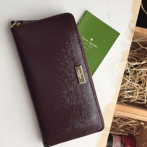 Authentic Kate Spade burgundy zippered wallet